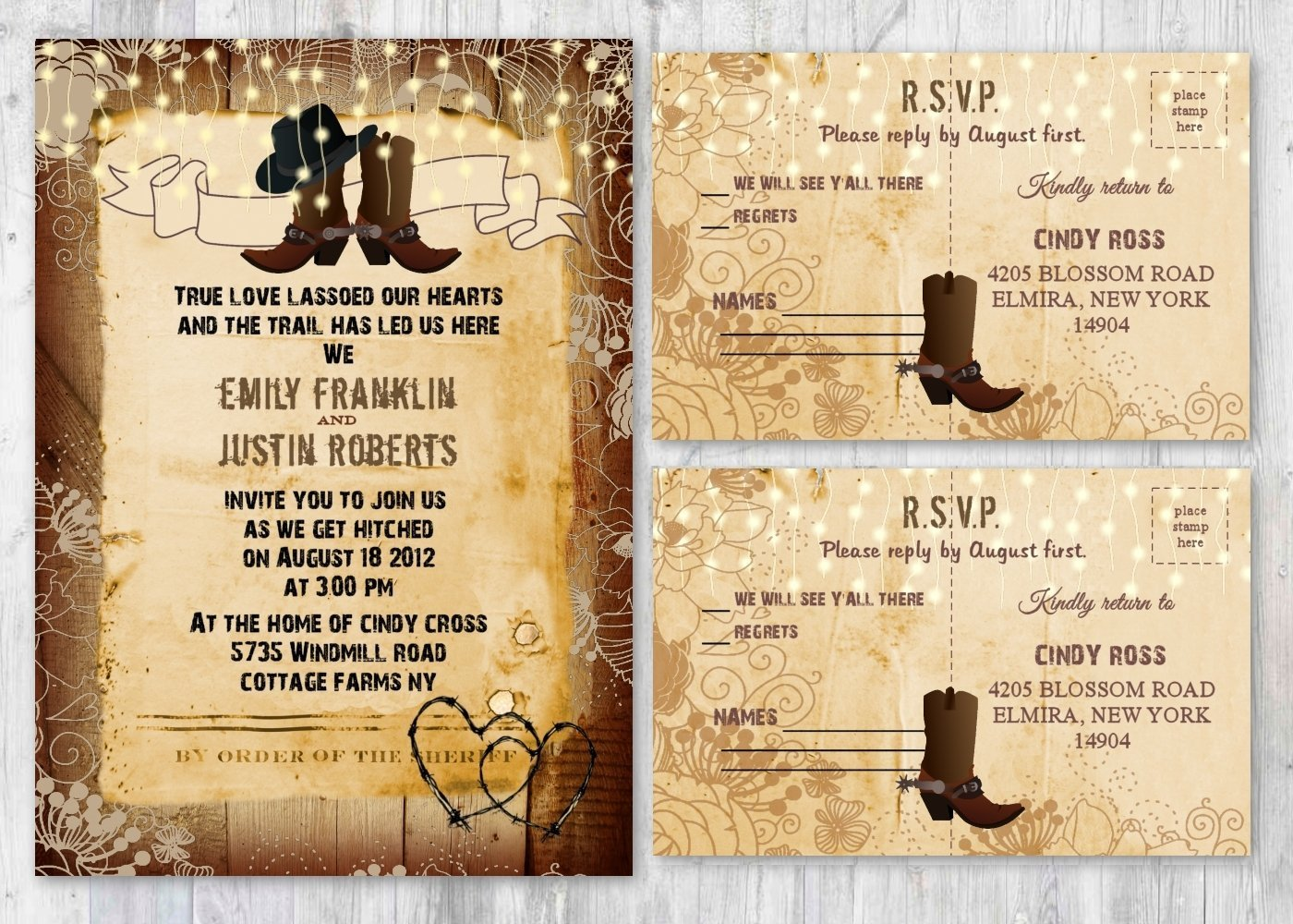 Set of 130 Western Rustic Country Themed Wedding Invitations - Invitation & RSVP Cards