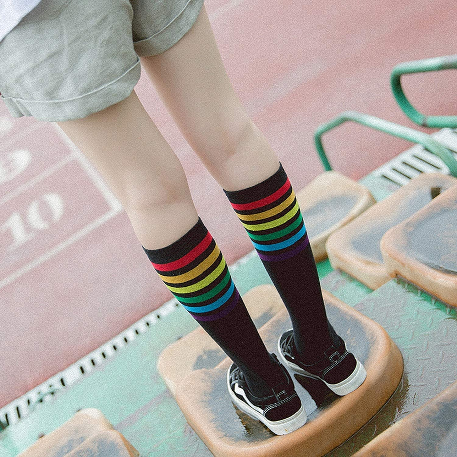 Japanese WomenS Rainbow Striped Stockings Fall Cute Women Students Girls Colorful Stripes Black White Cotton Knee Socks