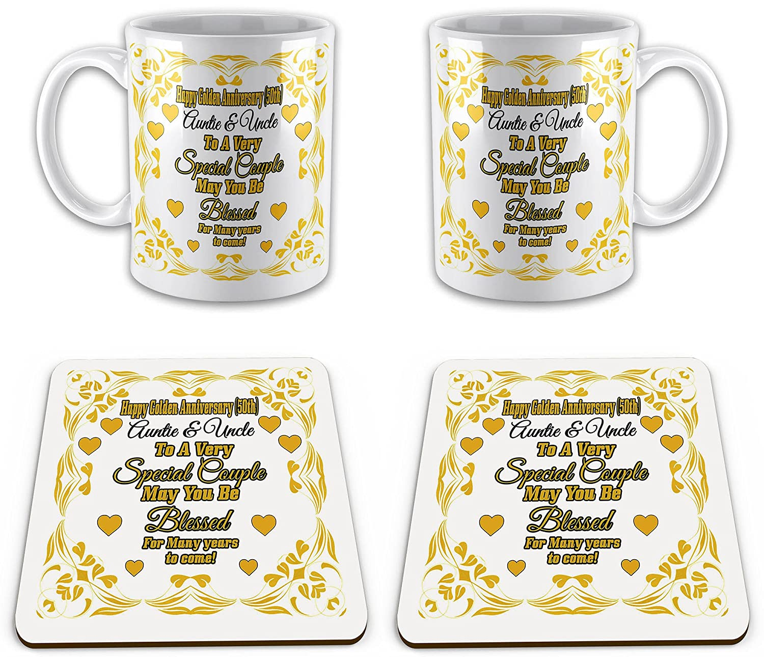 Set of Happy Golden Anniversary Auntie & Uncle (50th) Novelty Gift Mugs & Coasters