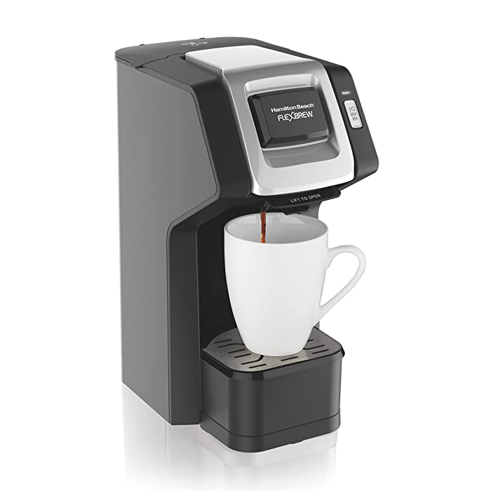 Hamilton Beach (49974) Single Serve Coffee Maker, Compatible with pod Packs and Ground Coffee, Flexbrew, Black