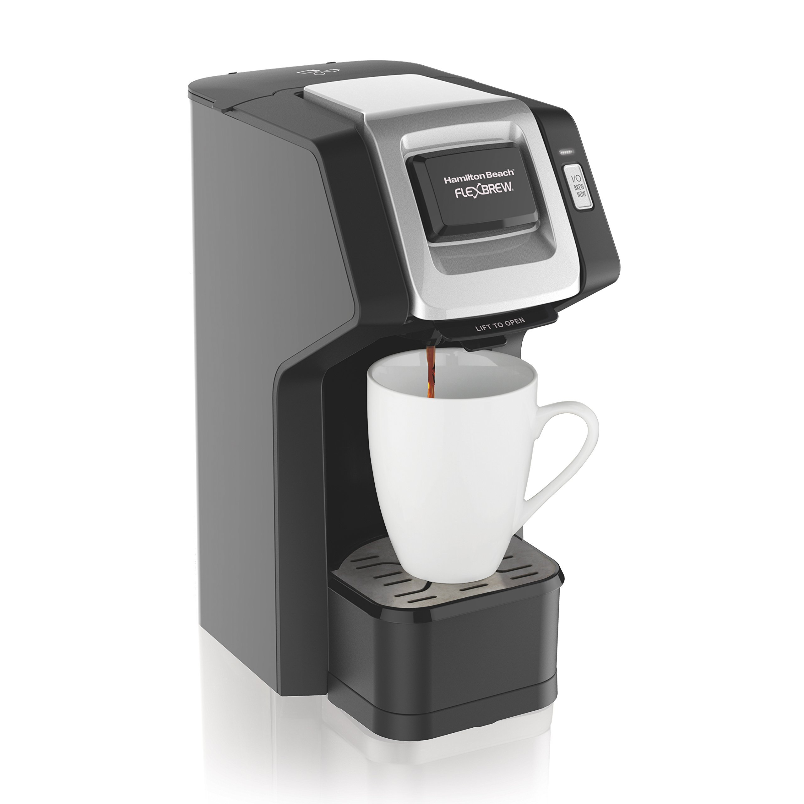 Hamilton Beach (49974) Single Serve Coffee Maker,Compatible withK-Cup Packs and Ground Coffee, Flexbrew, Black by Hamilton Beach (Image #1)