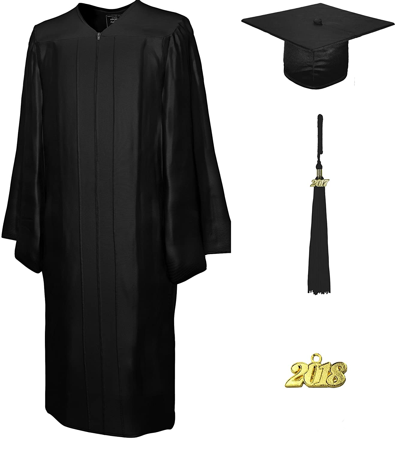 CollegeFashion Cap & Gown & Tassel, Set Shiny, size 48 black College Fashion