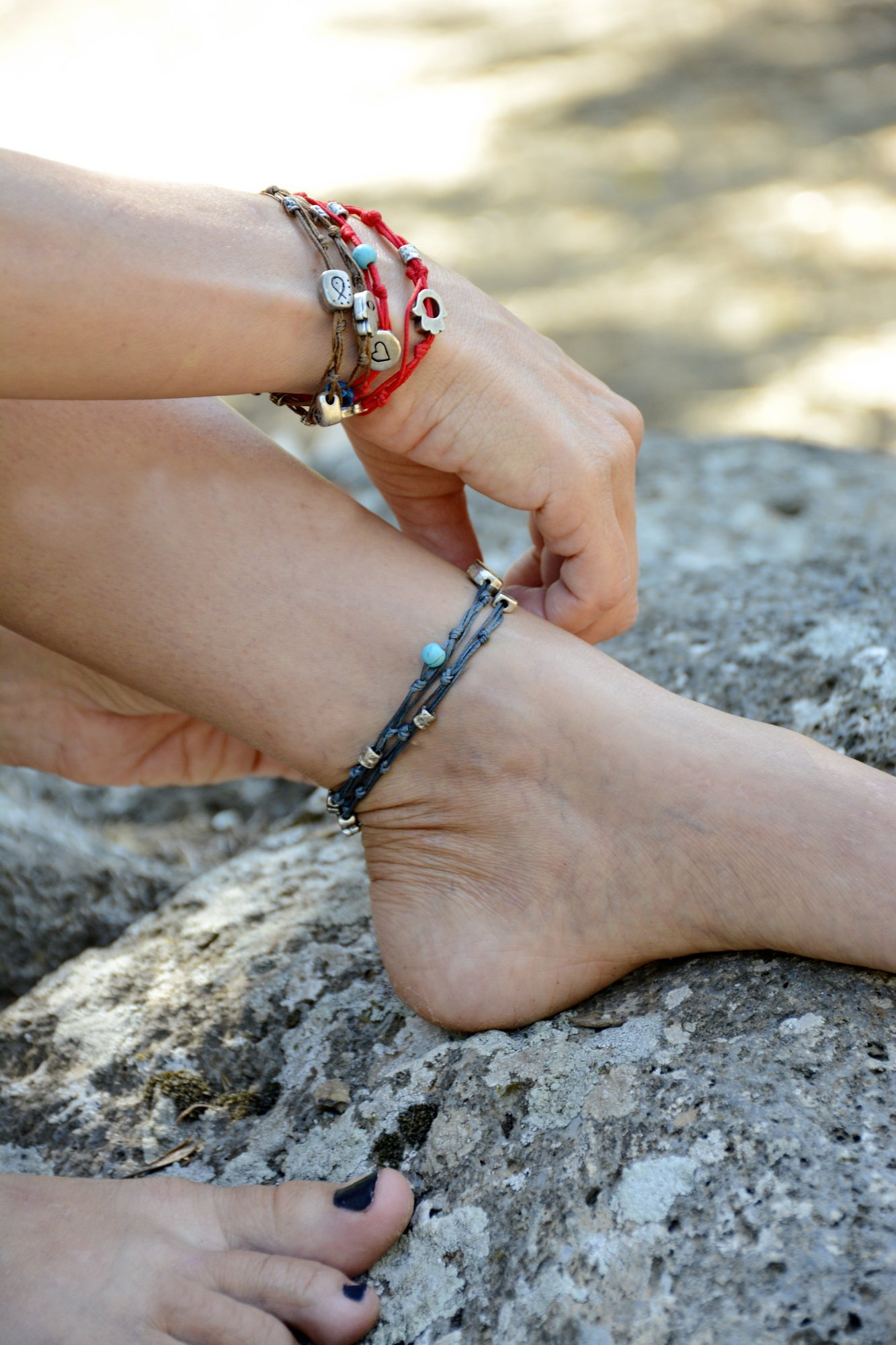 Handmade Denim Blue & Silver Double Wrap Anklet for Good Luck - 10.5'' by MIZZE Made for Luck (Image #5)