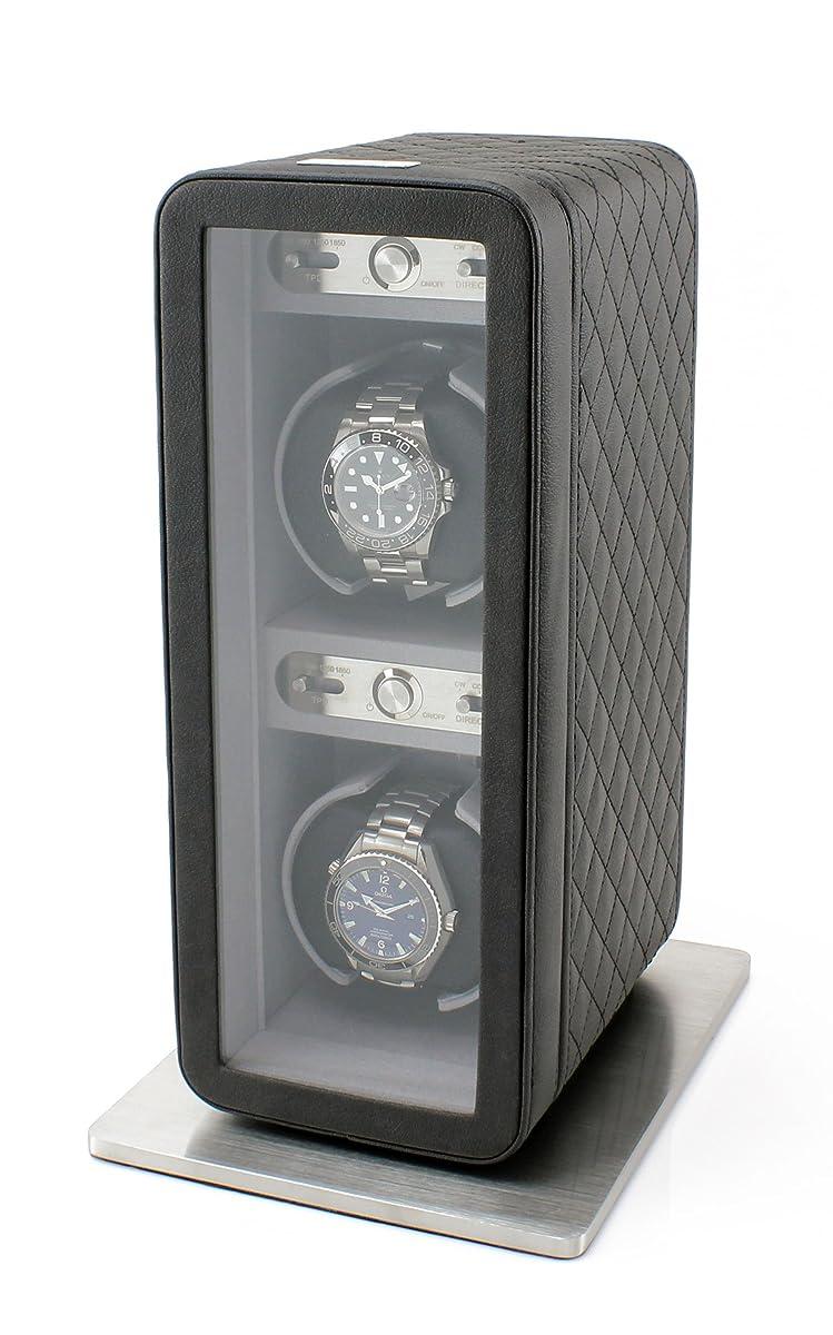 Heiden Monaco Double Watch Winder in Black Leather - Battery Powered or AC Adapter