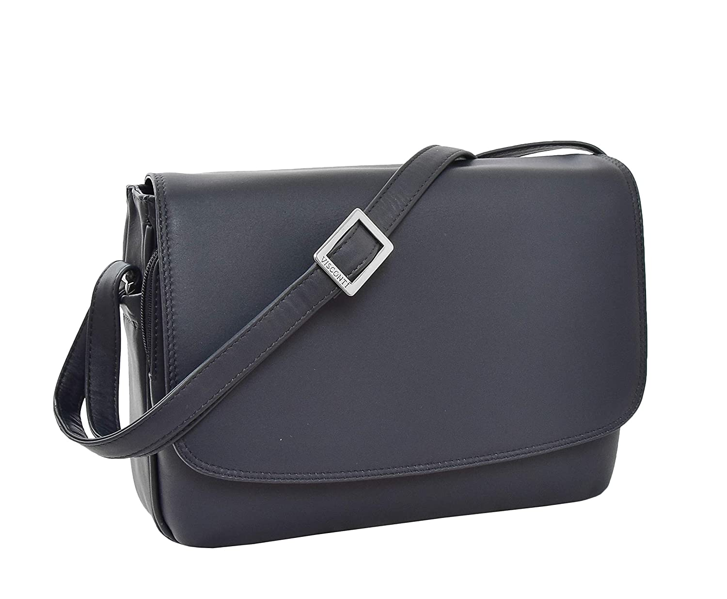 - Women's Real Leather Classic Style Flap Over Cross Body Shoulder Bag Maldives bluee New