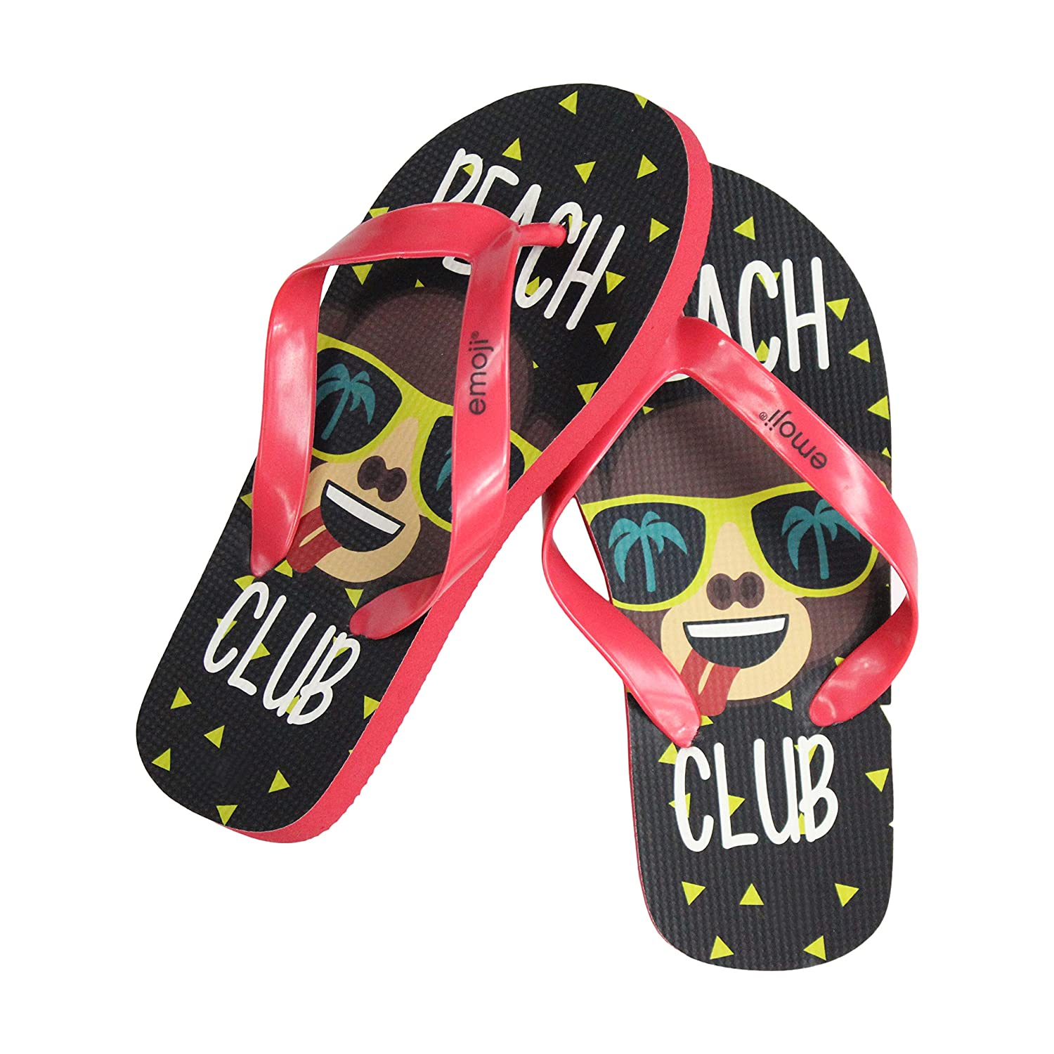 Kids Smiley Summer Sandals Thong Style Beach Shoes emoji Print Summer Flip Flops