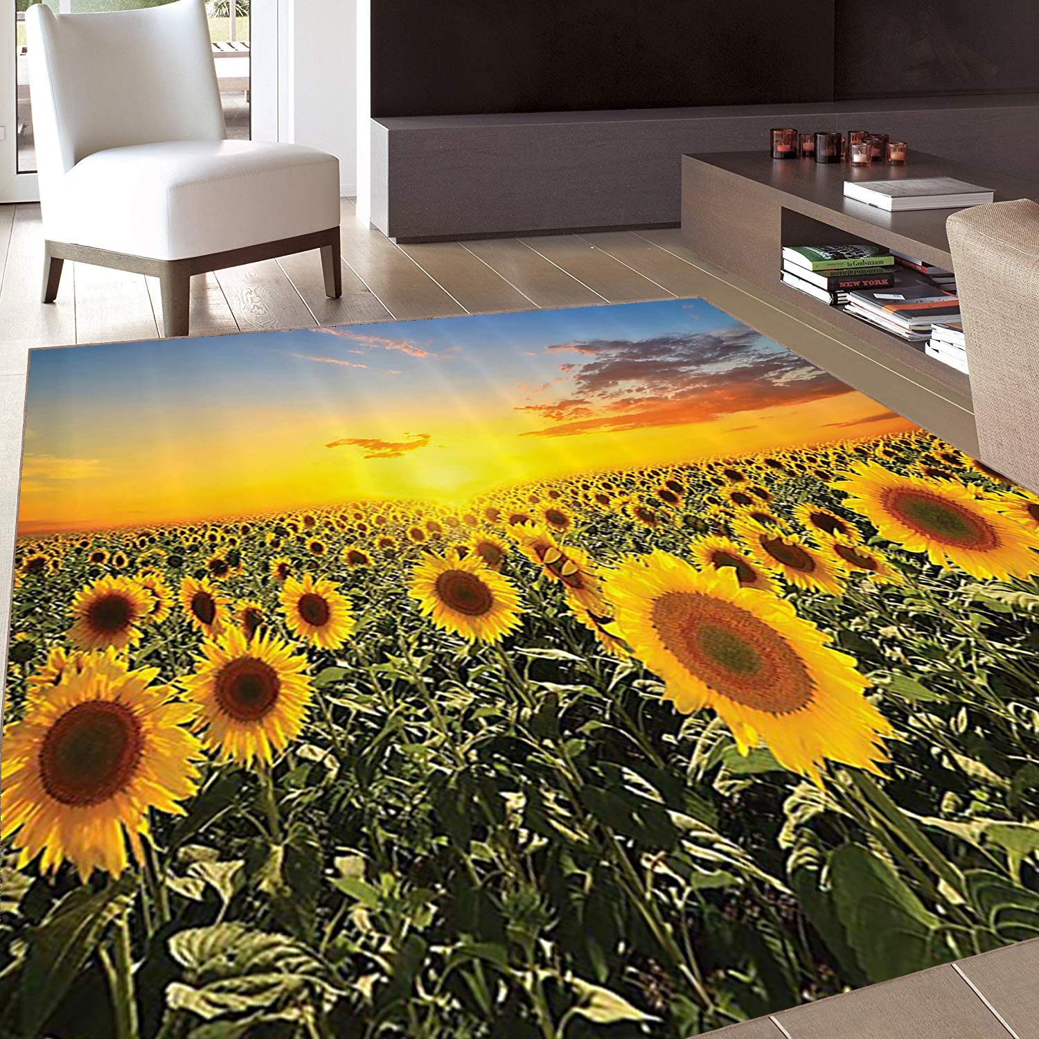 Rug,Floor Mat Rug,Country Farm Garden ations by,Area Rug,Sunset Over Colorful Sunflower Plants Field at Cloudy Evening,Home mat,3