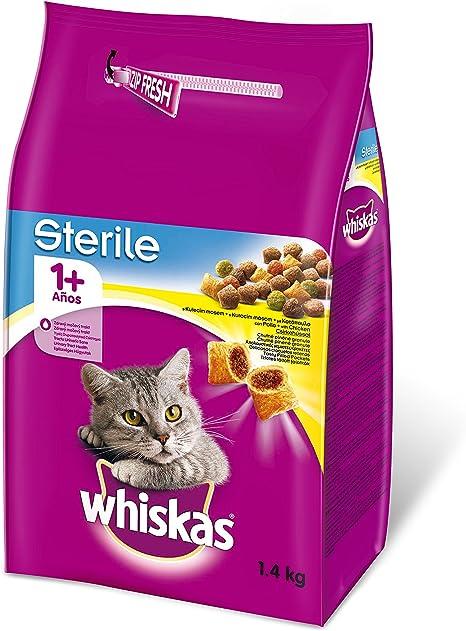 Pienso para gatos adultos esterilizados con sabor pollo de 1,4kg ...