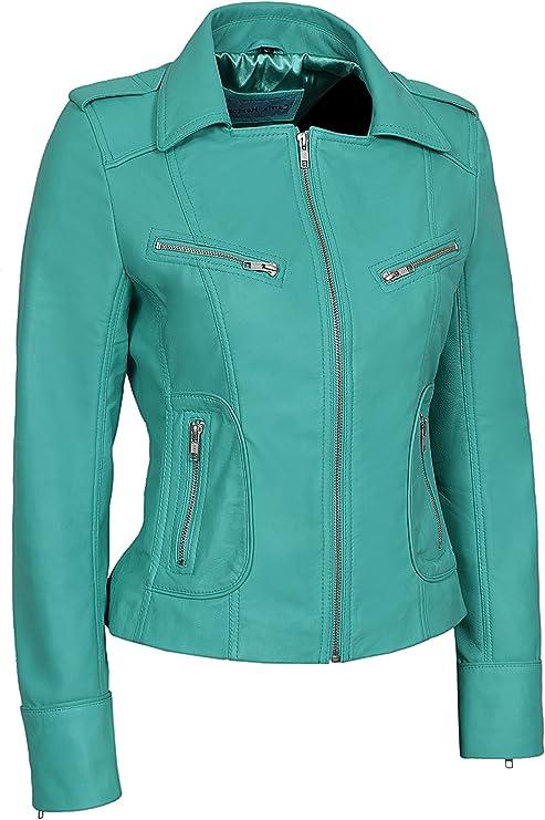 Women Sea Green Lambskin Leather Jacket Turquoise Real Leather Jacket Ladies