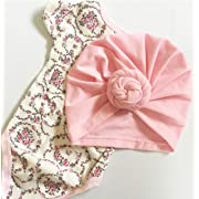 Baby Genie Turban Hat | Turban Cotton Hat Headband Toddler Babys Turban Kids Single Knotted Hat Cap (Pink)