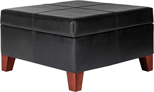HomePop Faux Leather Square Storage Ottoman Coffee Table