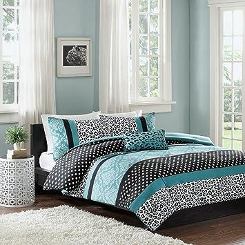 Comforter Bed Set Teen Bedding Modern Teal Black Animal Print Girls  Bedspead Update Home (full