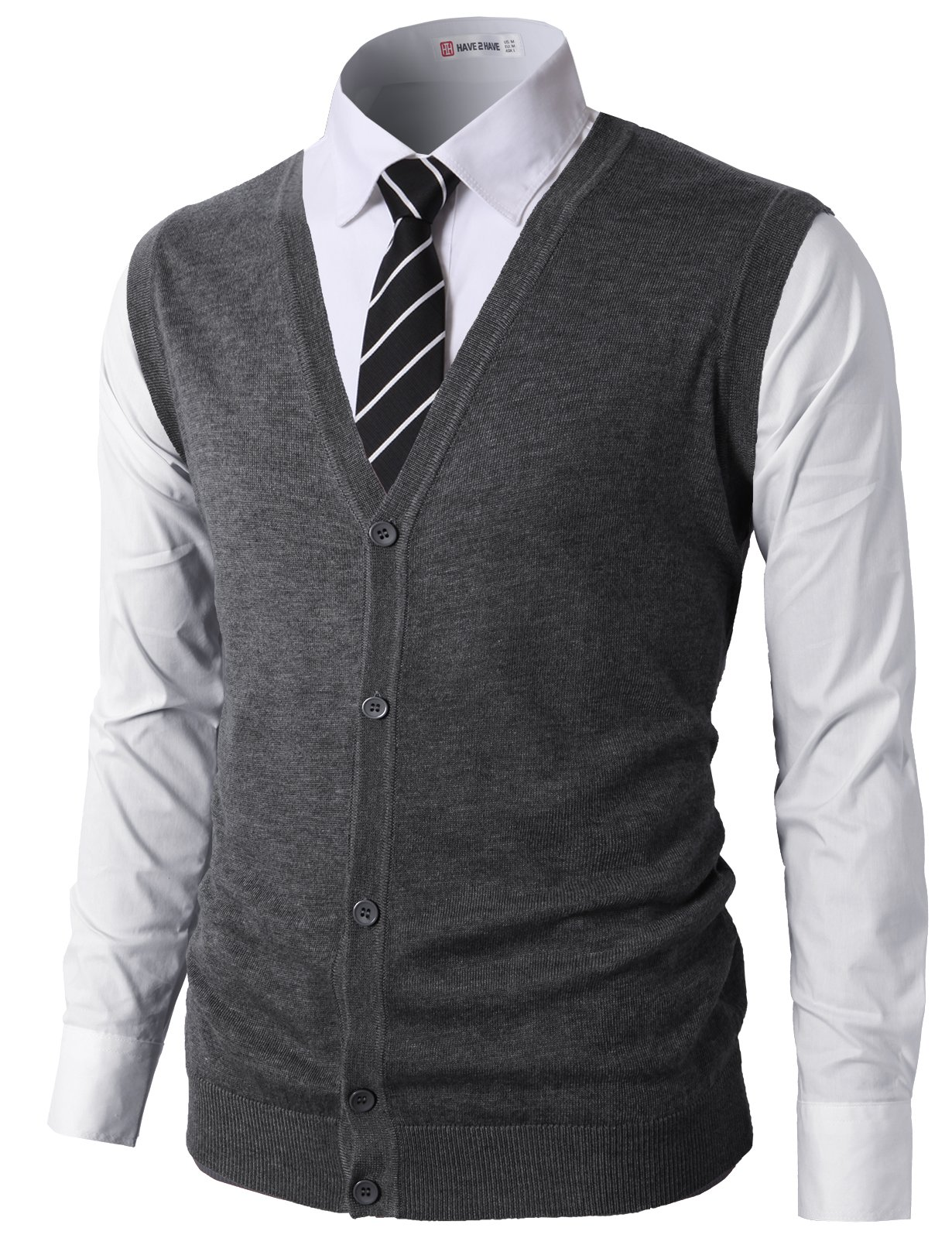 H2H Mens Casual Fitted Knitted V-Neck Button-Down Vests Charcoal US M/Asia L (CMOV038) by H2H