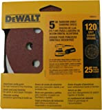 DEWALT DW4311 5-Inch 8 Hole 120 Grit Hook and Loop Random Orbit Sandpaper (25-Pack)