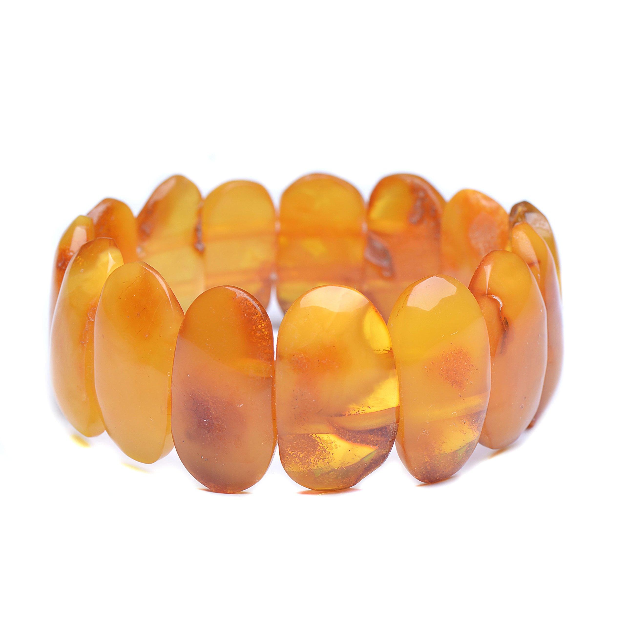 Vintage Amber Bracelet - Unique Amber Bracelet - Certified Handmade Amber Bracelet - Genuine Amber Bracelet (7.5 inches, Butterscotch) by Genuine Amber