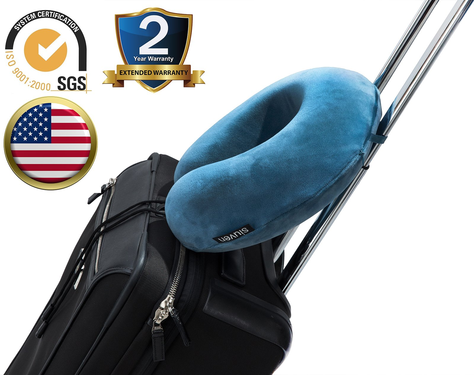 Comfort Travel Flight Pillow Relieve Neck Pain with Adjustable Toggle and Luxury Velour Cover Natural Memory Foam Blue Siuven