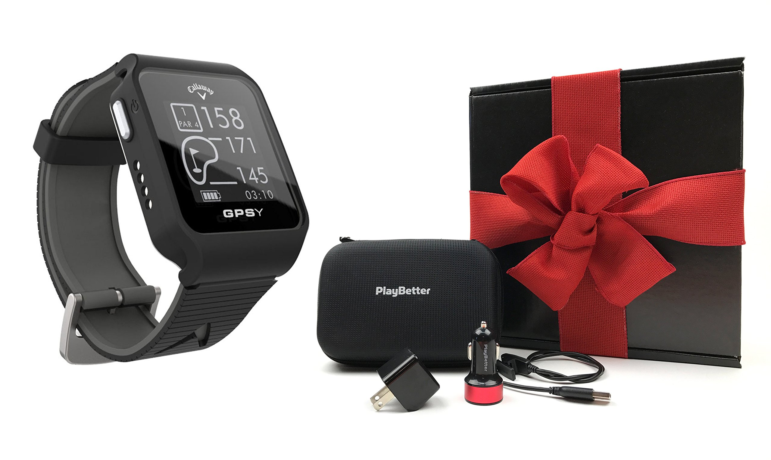 Callaway GPSy (Black) Golf GPS Watch Gift Box Bundle | Includes Callaway Golf GPS Watch, PlayBetter USB Car & Wall Charging Adapters, Protective Hard Carrying Case