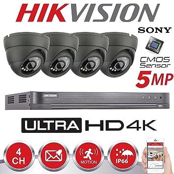 Hikvision - Cámaras de seguridad con visión nocturna para exterior, HD 4K, 5 MP, DVR, sistema de seguridad para hogar (gris): Amazon.es: Bricolaje y ...