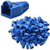 Cable Matters 4-Pack RJ45 Color Coded Strain Relief Boots in Blue (50 Pieces per Pack)