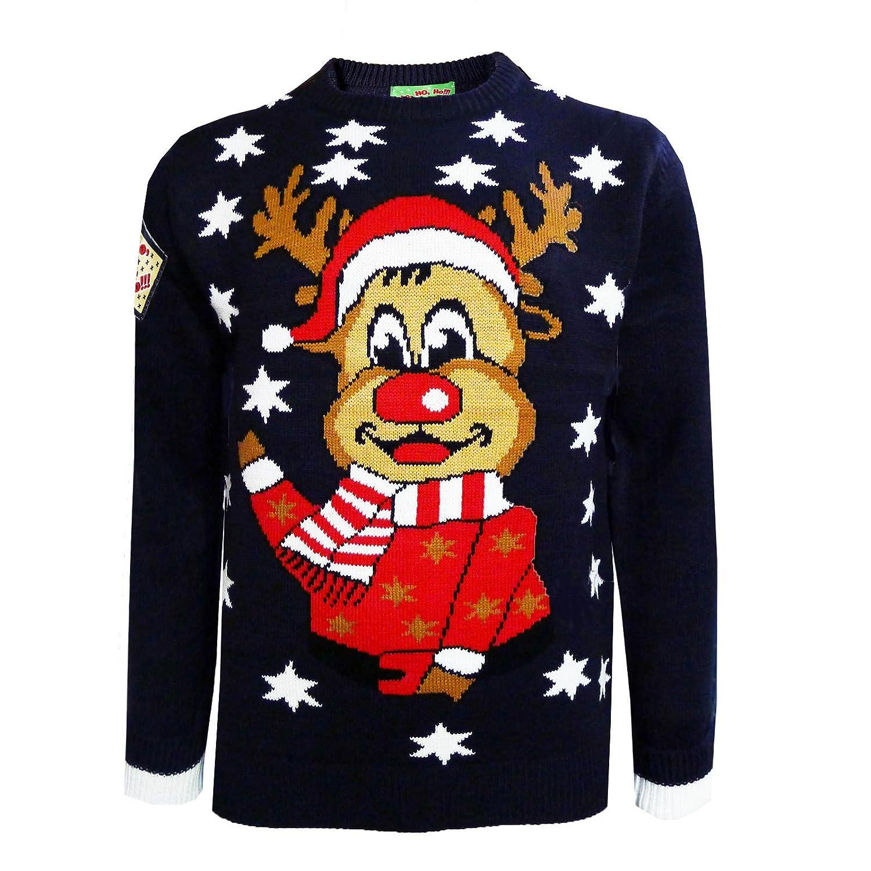 Rudolf SANTA Novelty Christmas Jumper Sweater TOP Unisex Knitted Xmas HO!HO!HO