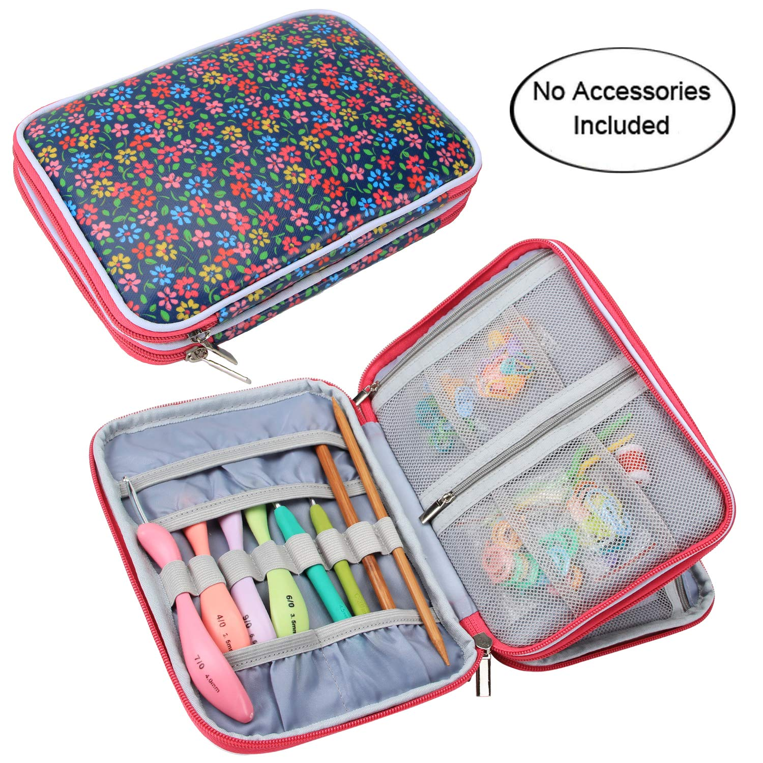 Teamoy Crochet Hook Case, Travel Storage Bag for Swing Crochet Hooks, Lighted Hooks, Needles(Up to 8'') and Accessories, Flowers Blue(No Accessories Included)