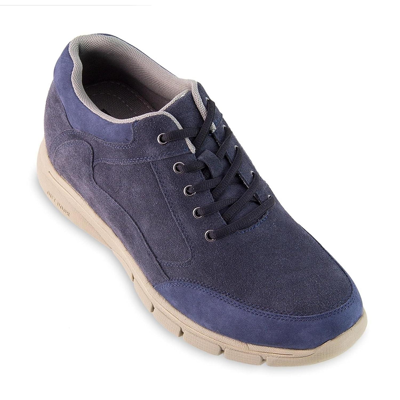 Masaltos Zapatos de Hombre con Alzas Que Aumentan Altura Hasta 7 cm. Fabricados EN Piel. Modelo Berna 39 EU|Azul