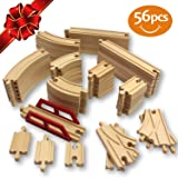 FLASH SALE | #1 Wooden Train Tracks 56 Piece Pack - 100% Compatible with Thomas, Brio, Ikea, and Chuggington Railway - Deluxe Real Beech Wood Set - Best Hobby For Kids With Active Minds