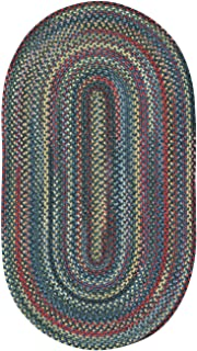 product image for Capel Rugs High Rock Oval Braided Runner Rug, 2 x 8', Blue