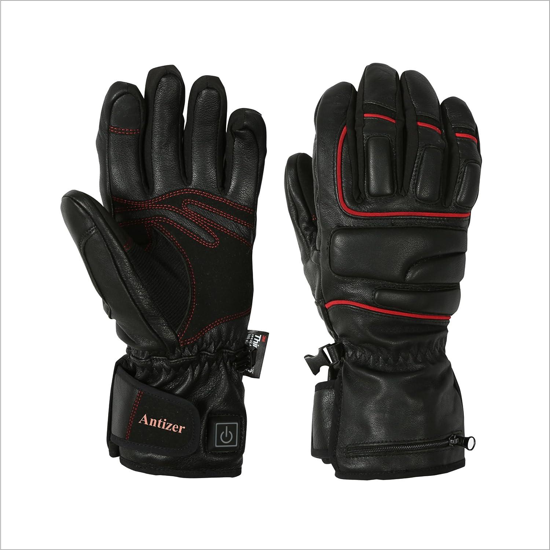 antizer Heated Gloves forユニセックスブラックカラー|防水デザインシープスキン手袋|快適フィットElectricグローブ冬のスポーツ、作業& More |調整可能な温度制御スイッチ B075ZBW6RB  S/M