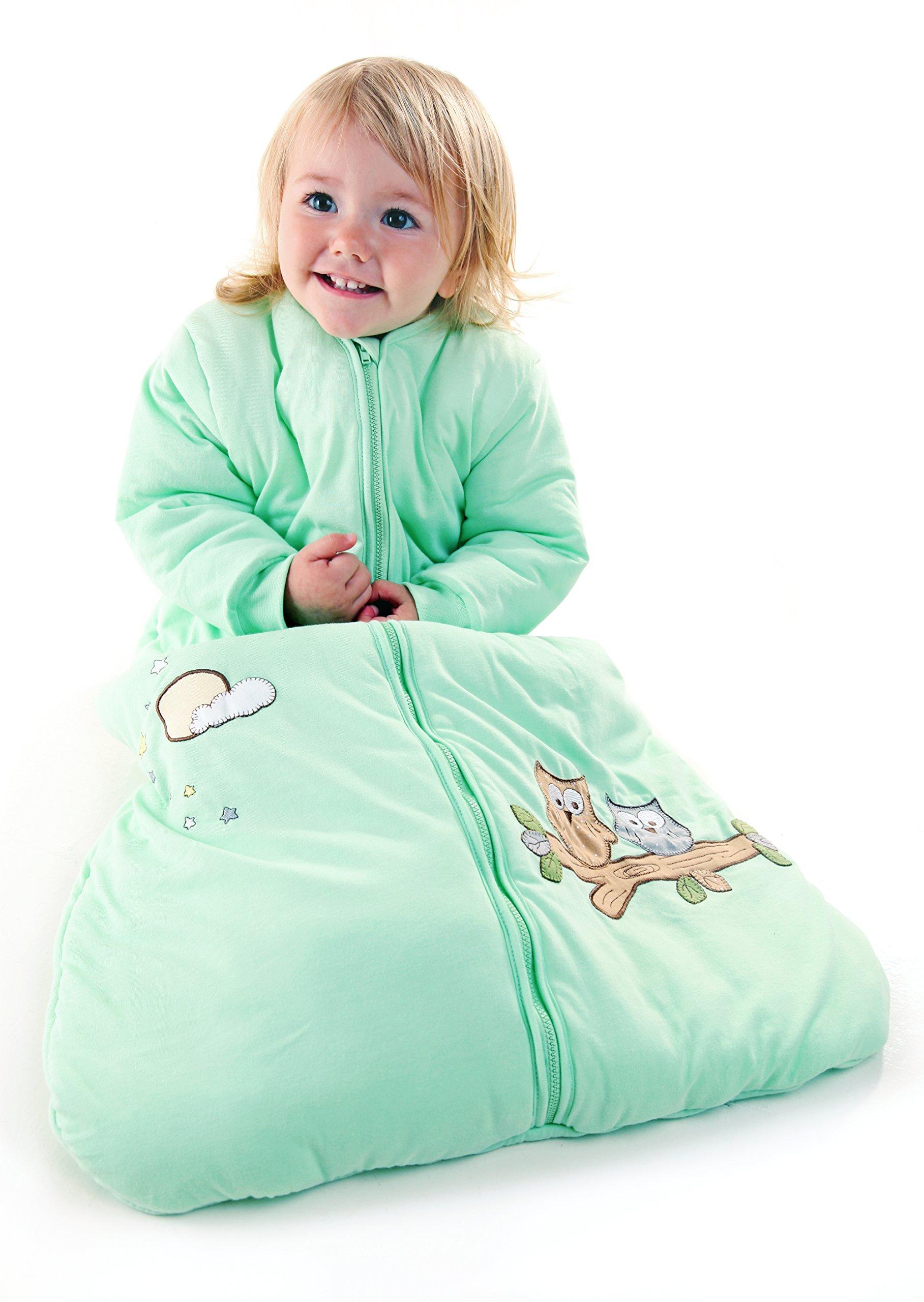 Slumbersafe Winter Baby Sleeping Bag Long Sleeves 3.5 Tog - Mint Owl, 6-18 months/MEDIUM