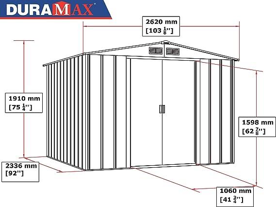 Duramax Gris Antracita Caseta Metalica Eco 8x8, 242x262x191 cm: Amazon.es: Jardín