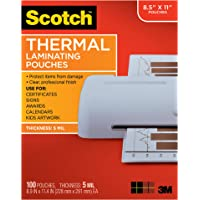 $23 » Scotch Brand Thermal Laminating Pouches, 8.9 x 11.4-Inches, 5 mil Thick, 100-Pack (TP5854…