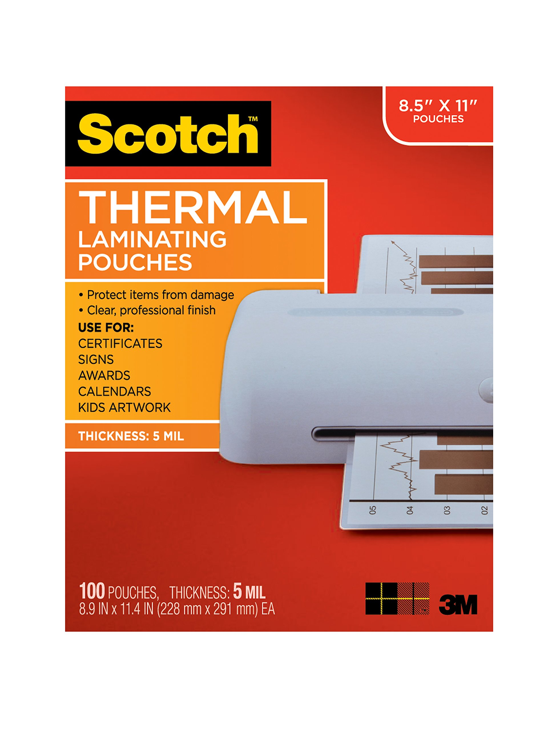 Scotch Thermal Laminating Pouches, 8.9 x 11.4-Inches, 5 mil thick, 100-Pack (TP5854-100),Clear by Scotch Brand