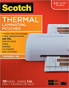 Scotch Brand Thermal Laminating Pouches, 5 Mil Thick for Extra Protection, 100-Pack, 8.9 x 11.4 inches, Letter Size Sheets, Clear (TP5854-100)