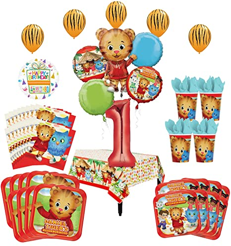 Daniel Tiger Neighborhood 1st Birthday Party Supplies And 8 Guest 53pc Balloon Decoration Kit