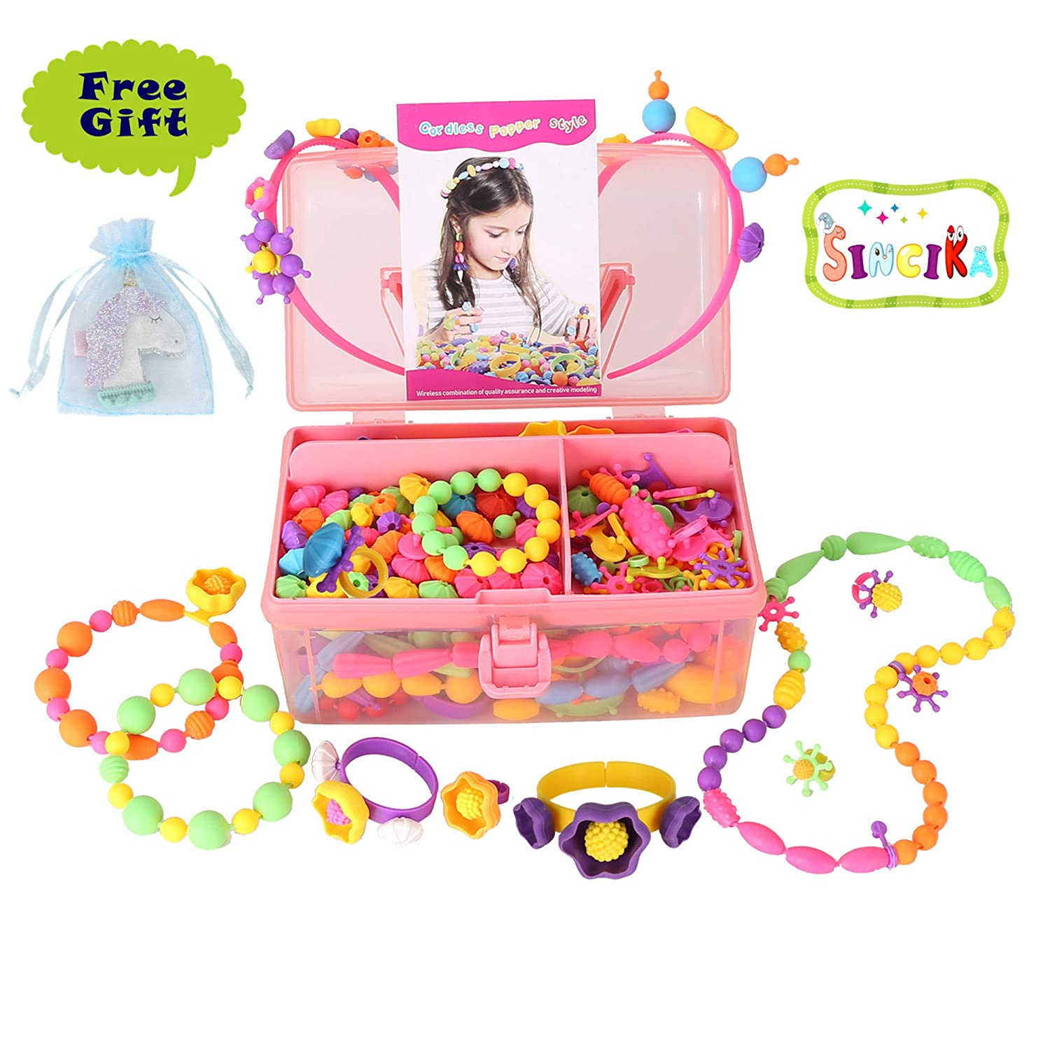Pop Snap Beads Set for Kids with Storage Box ( 520 PCS) - Creative DIY Dress Up Jewelry Toys for Making Necklace, Bracelet and Ring - Ideal Christmas Birthday Gifts for 4, 5, 6, 7, 8 Years Old Girls (B) Sincika