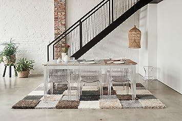Rugment Hochflor Designer Teppich Aus 35 Elementen In Grau Braun Beige Weiss  Für Wohnzimmer, Kinderzimmer
