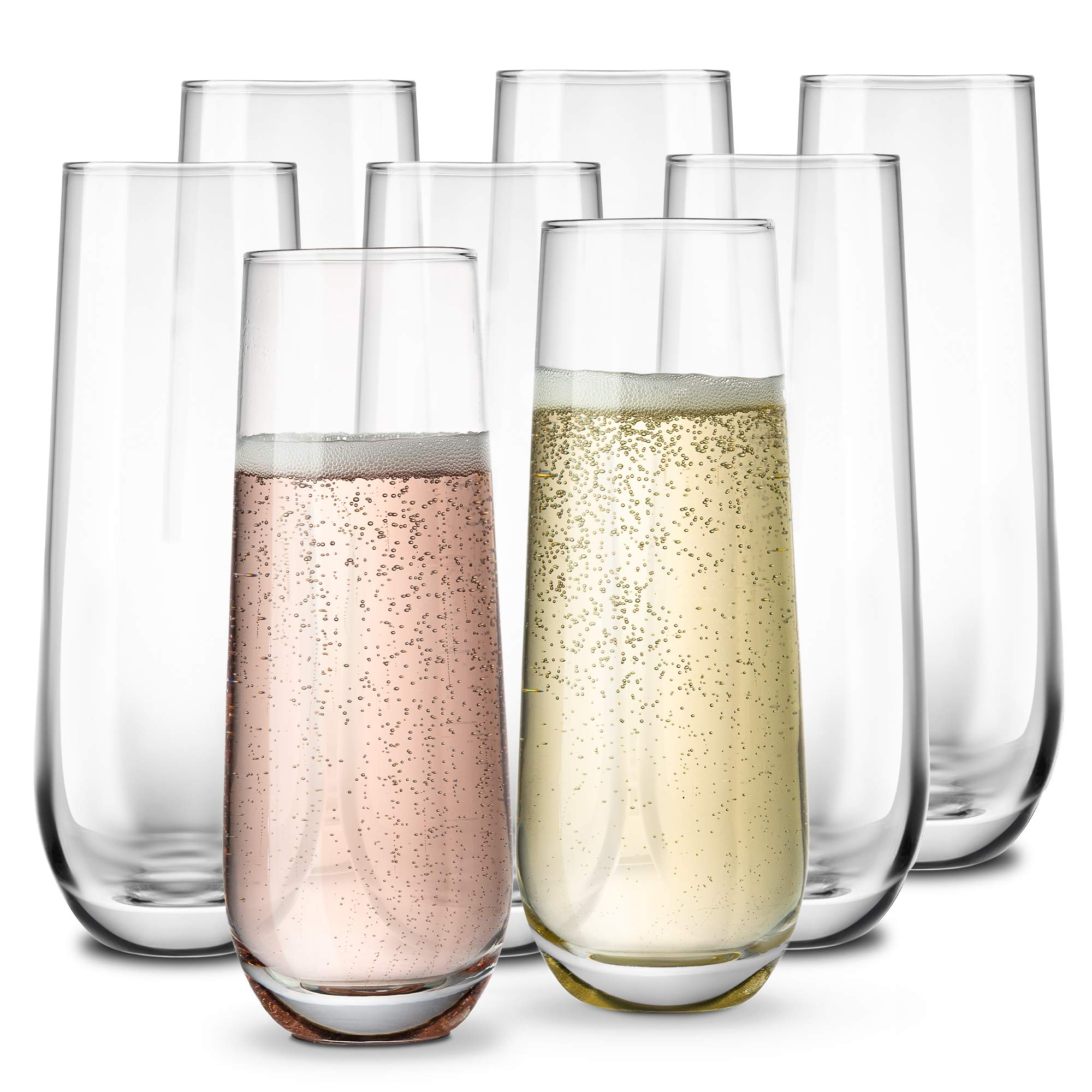 Stemless Champagne Flutes, by KooK, Durable Glass, Set of 8, 10.5oz