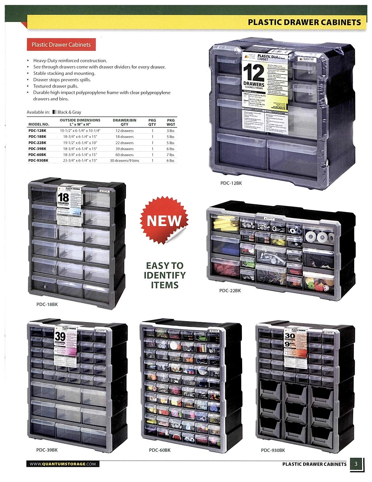 Quantum Storage Systems PDC-22BK Clear Plastic Drawer Cabinet, 22 Drawers