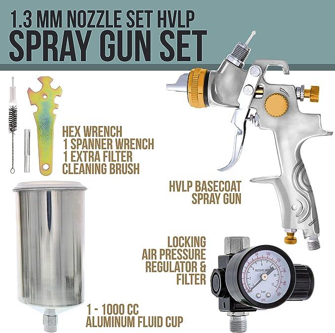 CarBole HVLP 1000 cc, con 3 boquillas, 1,4 mm, 1,7 mm, 2,5 mm Pistola de pulverizaci/ón de aire para coche