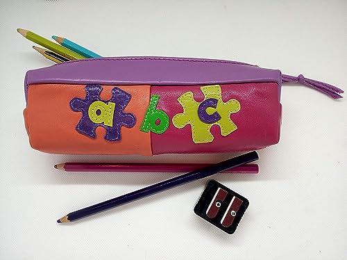 Estuche de Cuero/Piel, Plumier Escolar Cremallera Forro interior, Estuche niña, Color Fucsia/Naranja/Lila, Hecho a mano, Único: Amazon.es: Handmade