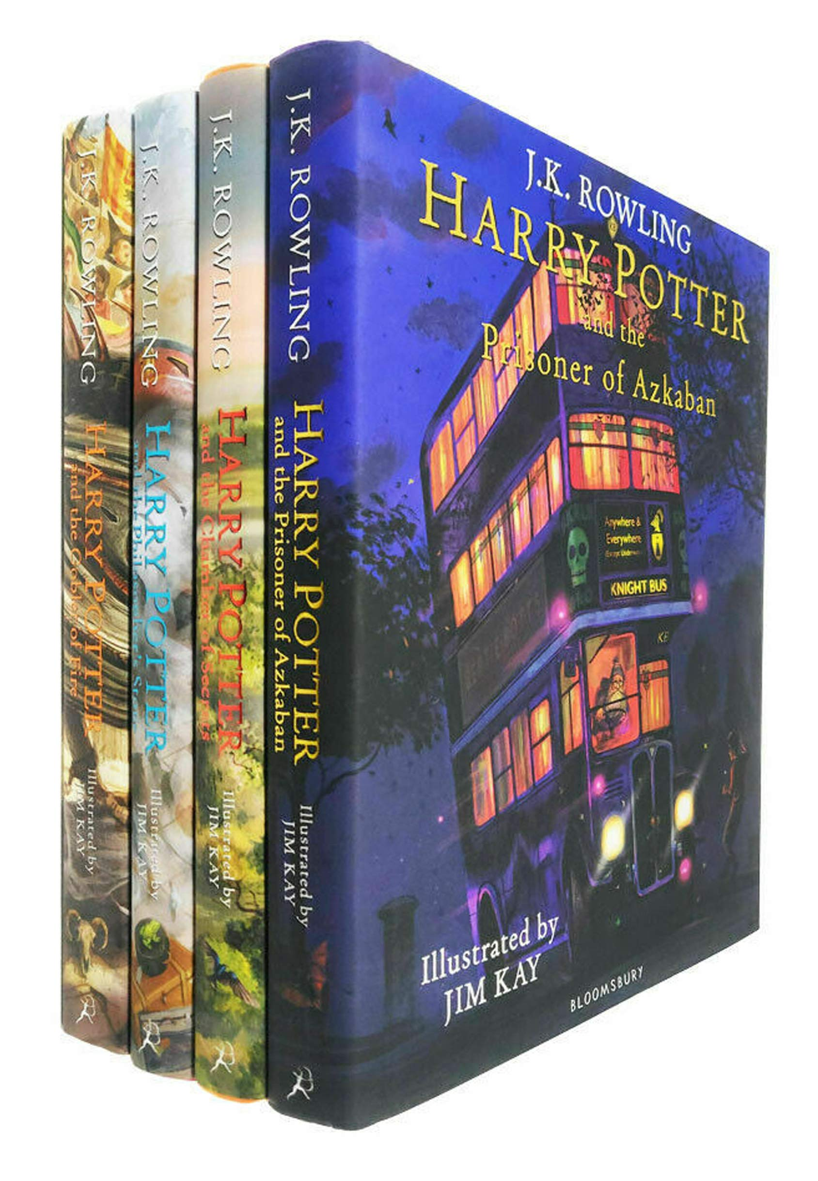 Harry Potter The Illustrated 4 Books Collection Set By JK Rowling – The Philosophers Stone, The Chamber of Secrets, The Prisoner of Azkaban, The Goblet of Fire