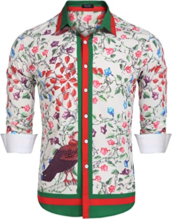 COOFANDY Mens Floral Dress Shirt Long Sleeve 70s Printed Casual Button Down Shirts