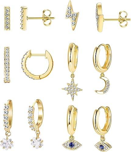 Milacolato 2 Pairs 925 Sterling Silver Moon Star Dangle Hoop Earring CZ Drop Huggie Cartilage Cute Earring Set for Women