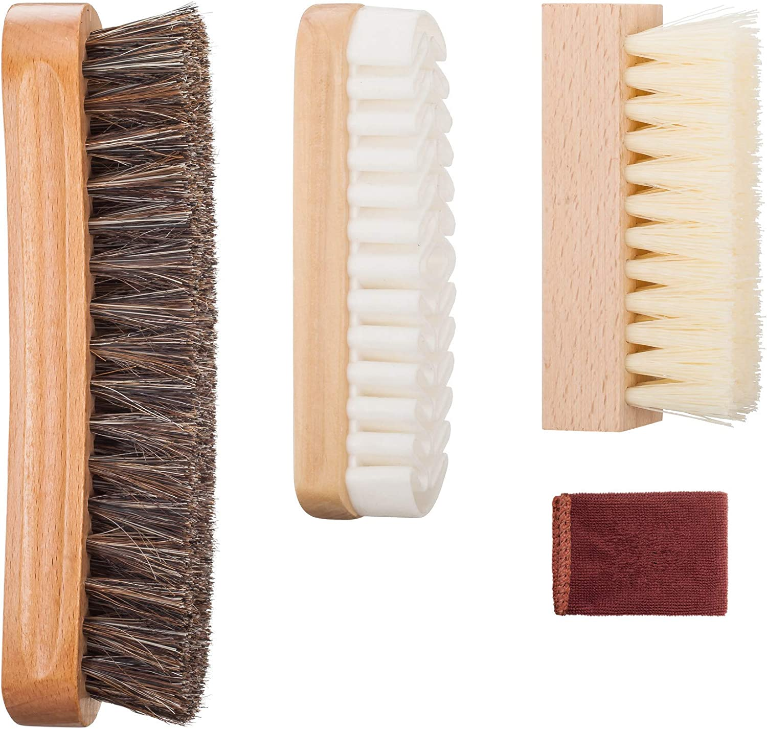 Shoe Brush Kit with 100% Horsehair Bristles Shoe Brush, Shoe Cleaning Brush, Crepe, Suede Nubuck Brush for Leather, Bags, cloth clean - 3 PACK