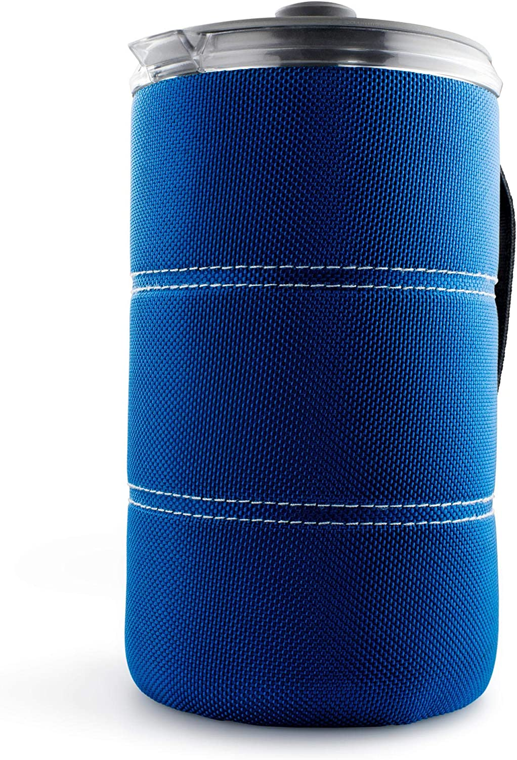 This is an image of a coffee press with blue insulation cover.