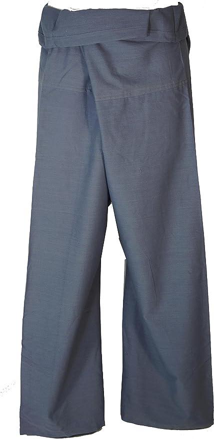 GURU-SHOP, Pantalones de Pesca de Algodón, Pantalones Wrap Pantalones de Yoga de Nepal, Azul-gris, Tamaño:One Size, Pantalón de Pescador Talla Larga: Amazon.es: Hogar
