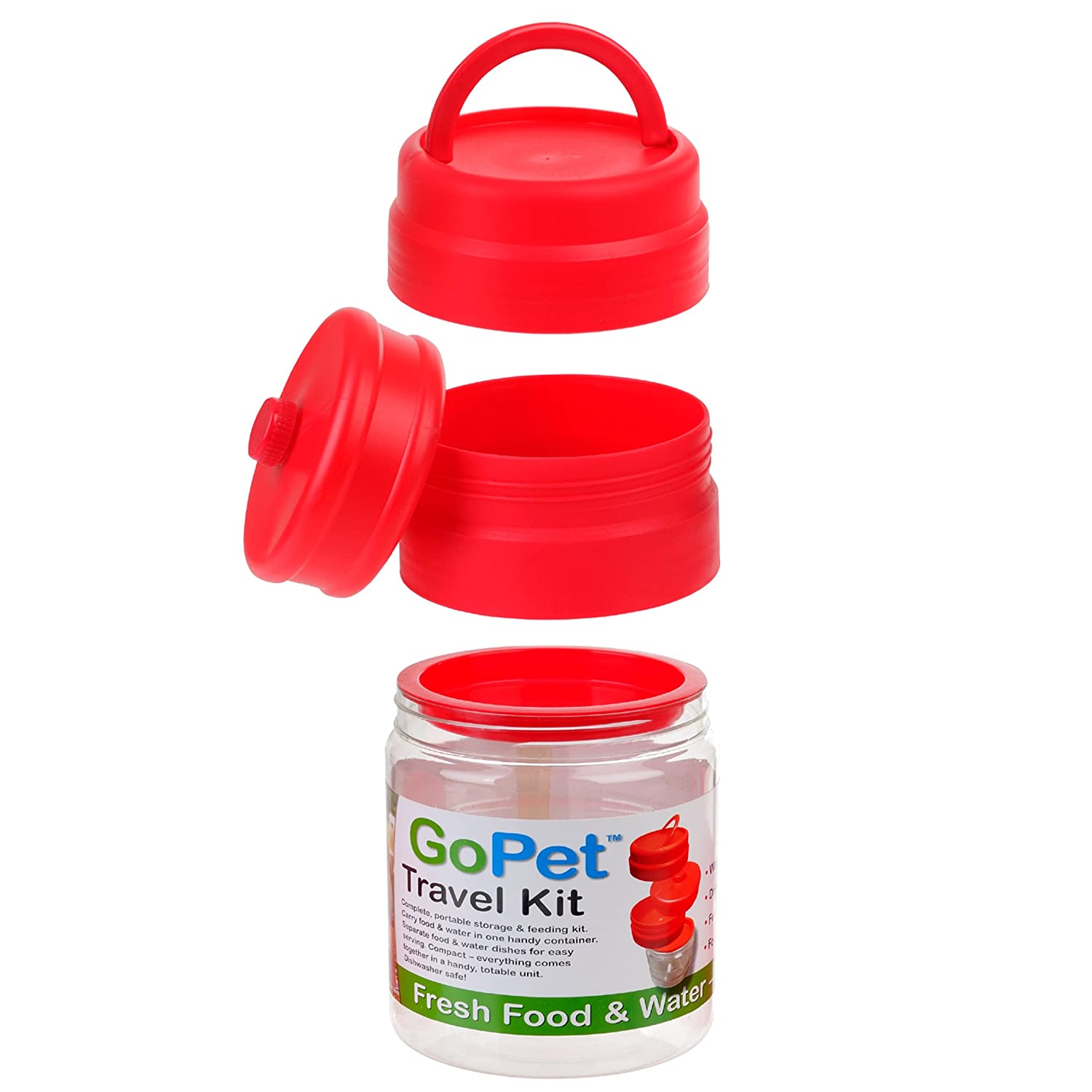 Clear New Age Pet GoPet Travel Food and Water Mess Kit