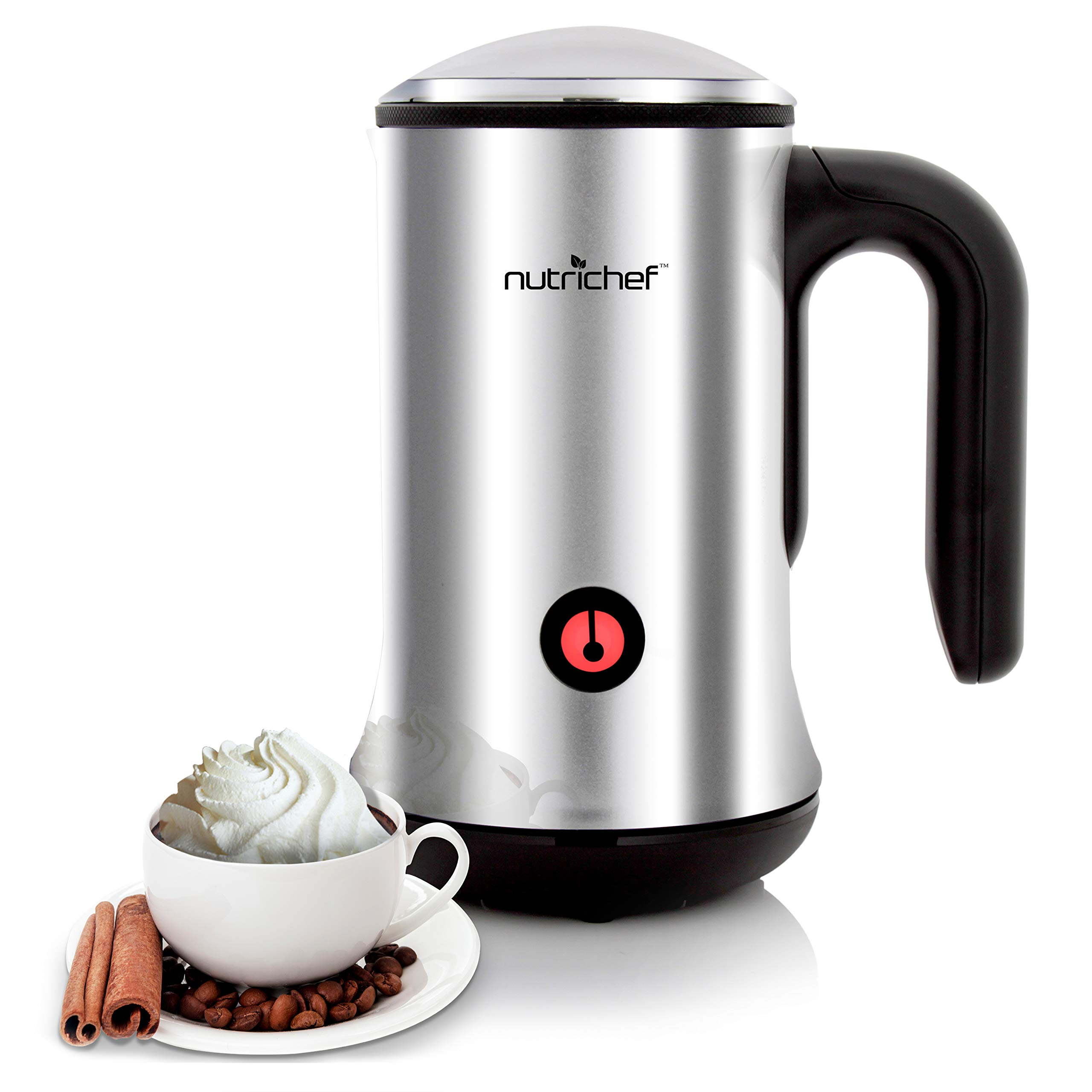 Electric Milk Warmer and Frother - 2-in-1 Automatic Hot or Cold Milk Steamer Heater Foamer Blender, Froth Foam Maker for Latte Cappuccino Coffee Drink, Silver Stainless Steel - NutriChef PKNESPRESO65
