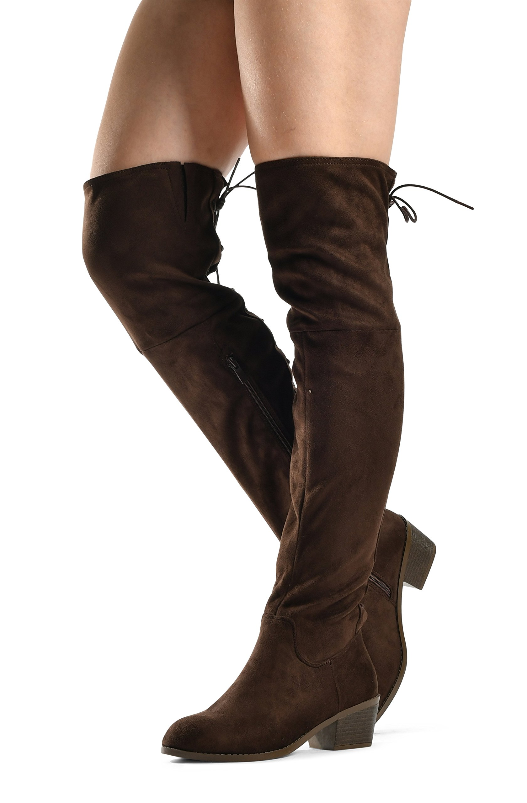 Women's Over The Knee Boots Stacked Low Heel Western Kate Lace up Almond Toe Knee High Tall Boot Brown 7.5